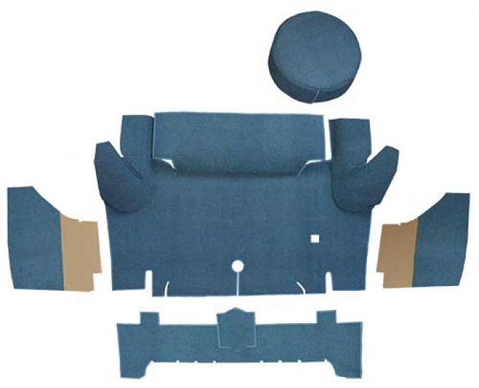 OER 1965-66 Mustang Convertible Loop Trunk Carpet Set with Boards - Medium Blue A4050A41