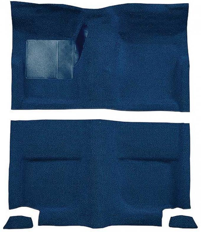 OER 1965-68 Mustang Fastback Nylon Loop Floor Carpet without Fold Downs, with Mass Backing - Dark Blue A4049B12