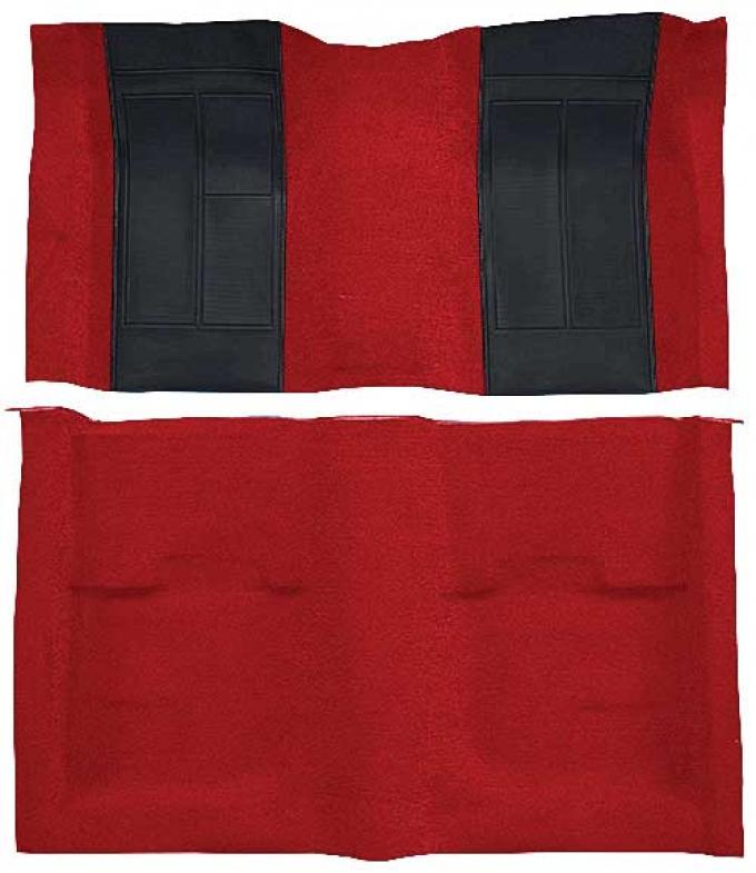 OER 1970 Mustang Mach 1 Nylon Floor Carpet with Mass Backing - Red with Black Inserts A4107B02