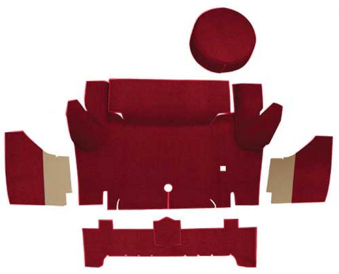OER 1965-66 Mustang Convertible Nylon Loop Trunk Carpet Set with Boards - Maroon A4067A15