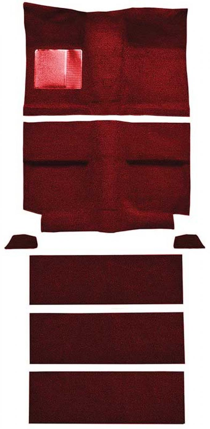 OER 1964 Mustang Fastback with Folddowns Nylon Loop Floor Carpet Set with Mass Backing - Maroon A4037B15