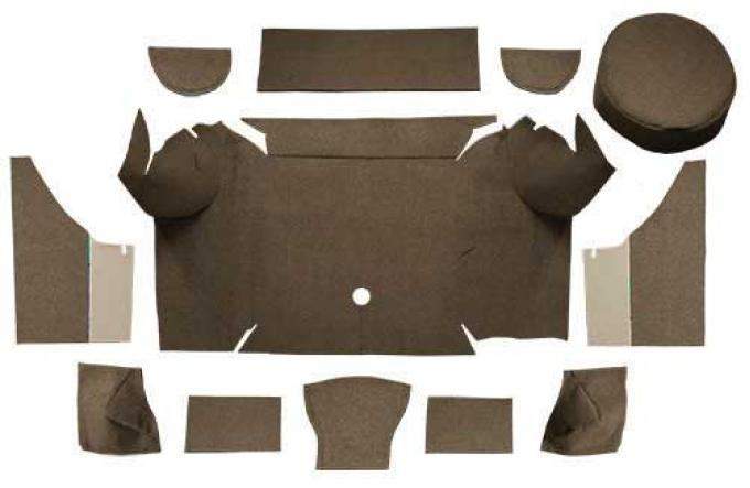 OER 1967-68 Mustang Convertible Loop Trunk Carpet Set with Boards - Dark Saddle A4062A18