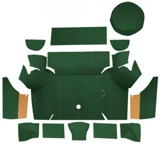 OER 1967-68 Mustang Coupe Nylon Loop Trunk Carpet Set with Boards - Dark Green A4075A13