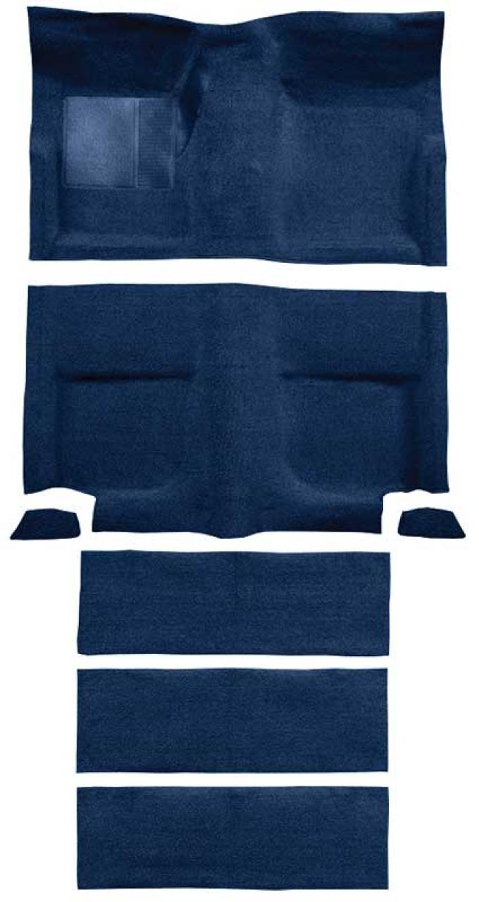 OER 1965-68 Mustang Fastback Passenger Area Loop Carpet with Fold Downs - Dark Blue A4102A12