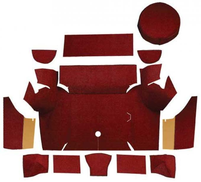 OER 1967-68 Mustang Coupe Loop Trunk Carpet Set with Boards - Maroon A4058A15