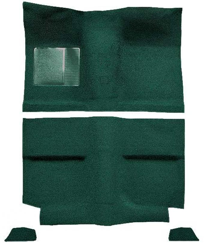 OER 1964 Mustang Fastback without Folddowns Loop Floor Carpet with Mass Backing - Dark Green A4034B13