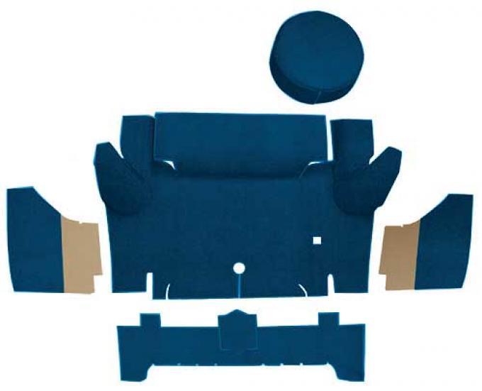 OER 1965-66 Mustang Convertible Nylon Loop Trunk Carpet Set with Boards - Dark Blue A4067A12