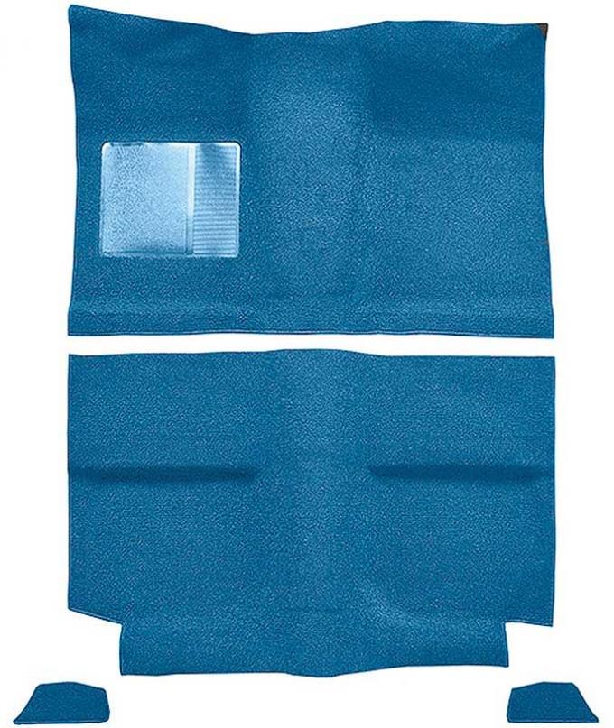 OER 1964 Mustang Fastback w/o Folddowns Nylon Loop Floor Carpet with Mass Backing - Light Blue A4035B31