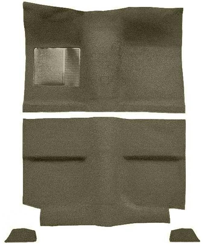 OER 1964 Mustang Fastback without Folddowns Passenger Area Loop Floor Carpet Set - Ivy Gold A4034A09