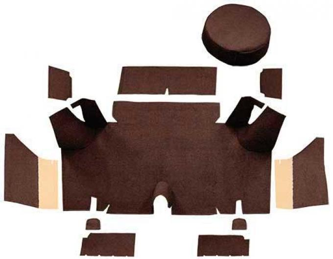 OER 1965-66 Mustang Fastback Loop Trunk Carpet Set with Boards - Dark Brown A4054A30