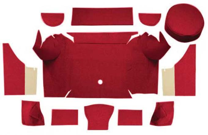 OER 1967-68 Mustang Convertible Nylon Loop Trunk Carpet Set with Boards - Maroon A4079A15