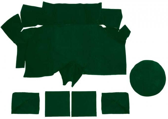 OER 1969-70 Mustang Fastback Nylon Loop Trunk Carpet Set with Boards - Green A4087A39