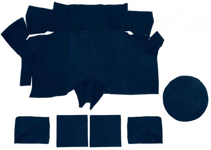 OER 1969-70 Mustang Fastback Nylon Loop Trunk Carpet Set with Boards - Dark Blue A4087A12