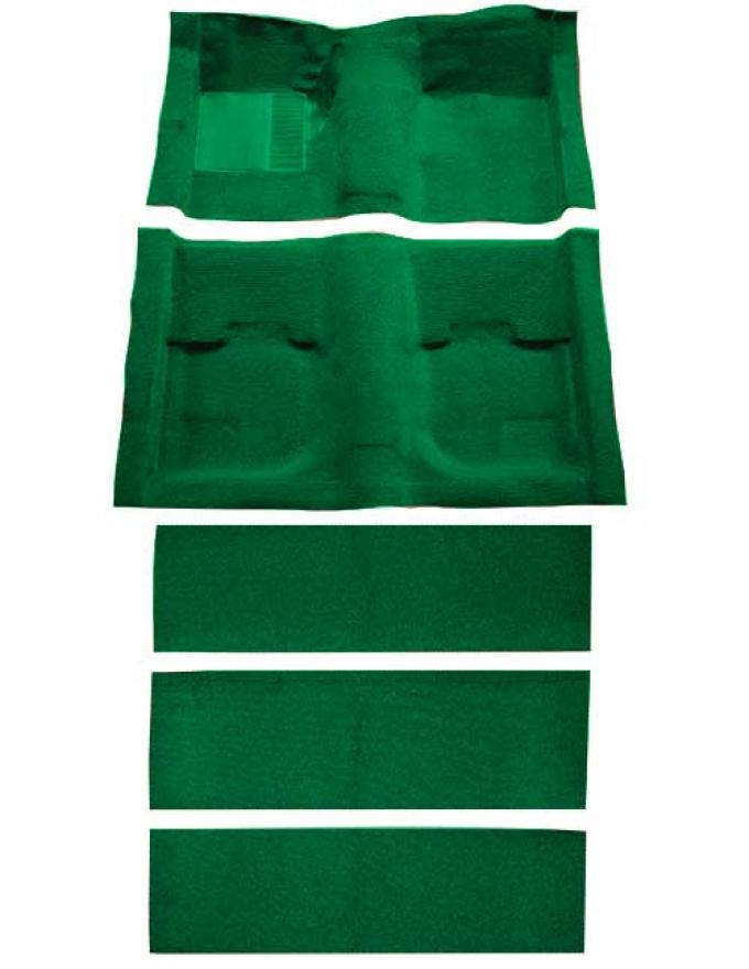 OER 1969-70 Mustang Fastback Nylon Loop Floor Carpet with Fold Downs and Mass Backing - Green A4055B39