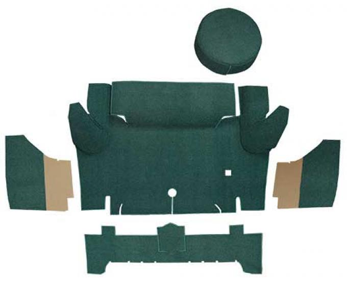OER 1965-66 Mustang Convertible Loop Trunk Carpet Set with Boards - Dark Green A4050A13