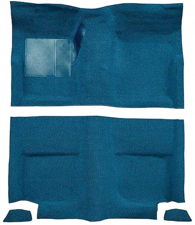 OER 1965-68 Mustang Fastback Passenger Area Nylon Loop Floor Carpet without Fold Downs - Medium Blue A4049A41