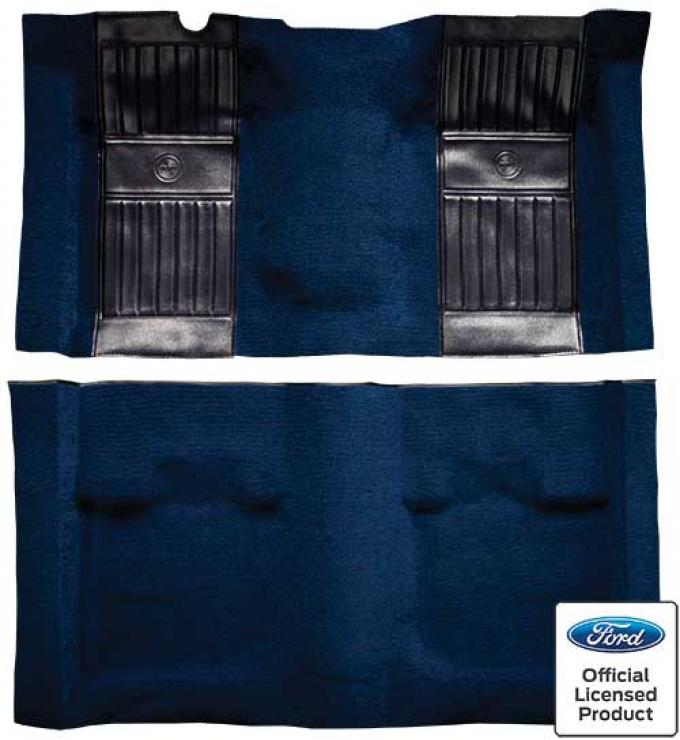 OER 1971-73 Mustang Mach 1 Passenger Area Nylon Floor Carpet - Dark Blue with Black Pony Inserts A4115A12