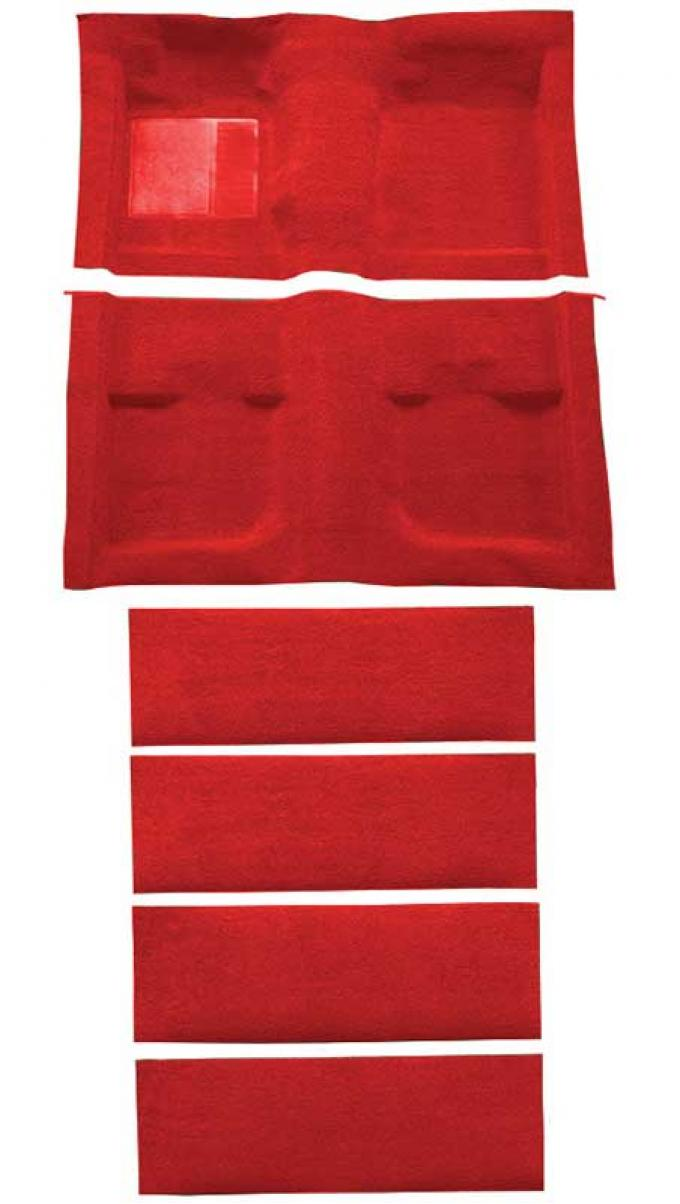 OER 1971-73 Mustang Coupe/Fastback Nylon Floor Carpet with Fold Downs and Mass Backing - Medium Red A4061B92
