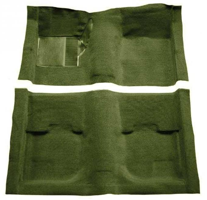 OER 1969-70 Mustang Fastback Nylon Loop Carpet without Fold Downs, with Mass Backing - Green A4051B39