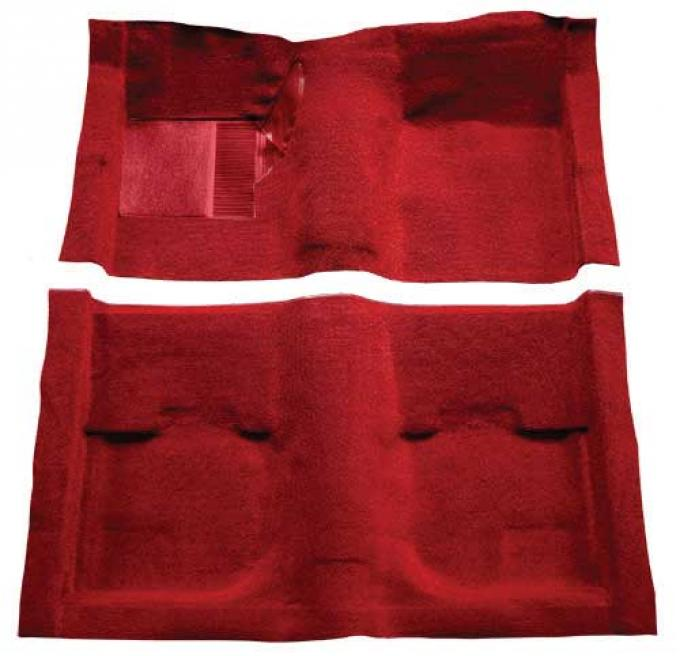 OER 1969-70 Mustang Fastback Nylon Loop Carpet without Fold Downs, with Mass Backing - Red A4051B02
