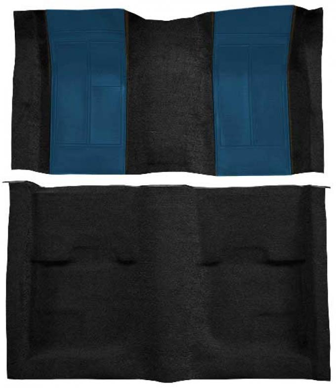 OER 1970 Mustang Mach 1 Passenger Area Nylon Floor Carpet - Black with Dark Blue Inserts A4109A12