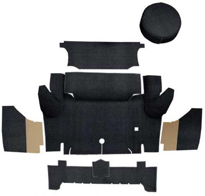 OER 1965-66 Mustang Coupe Nylon Loop Trunk Carpet Set with Boards - Black A4063A01