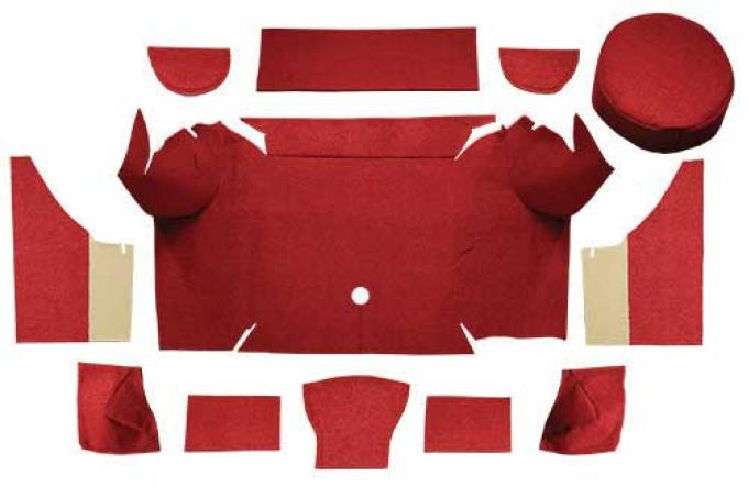 OER 1967-68 Mustang Convertible Loop Trunk Carpet Set with Boards - Red A4062A02