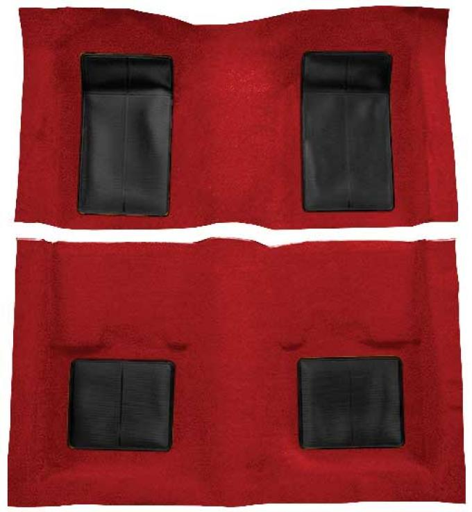 OER 1969 Mustang Mach 1 Nylon Floor Carpet with Mass Backing - Red with Black Inserts A4101B02