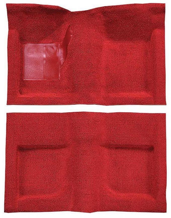 OER 1965-68 Mustang Convertible Passenger Area Nylon Loop Carpet Set with Mass Backing - Red A4047B02
