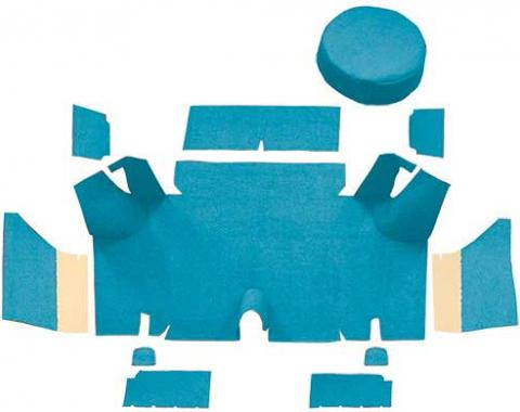 OER 1965-66 Mustang Fastback Nylon Loop Trunk Carpet Set with Boards - Light Blue A4071A31