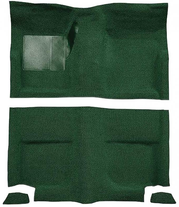 OER 1965-68 Mustang Fastback Nylon Loop Floor Carpet without Fold Downs, with Mass Backing - Green A4049B39