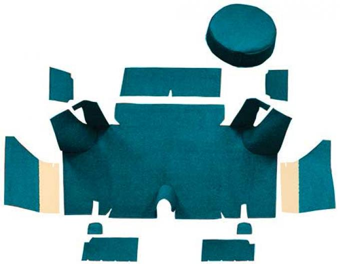 OER 1965-66 Mustang Fastback Nylon Loop Trunk Carpet Set with Boards - Aqua A4071A06