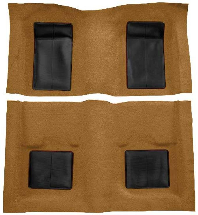 OER 1969 Mustang Mach 1 Passenger Area Nylon Loop Floor Carpet - Medium Saddle with Black Inserts A4101A69