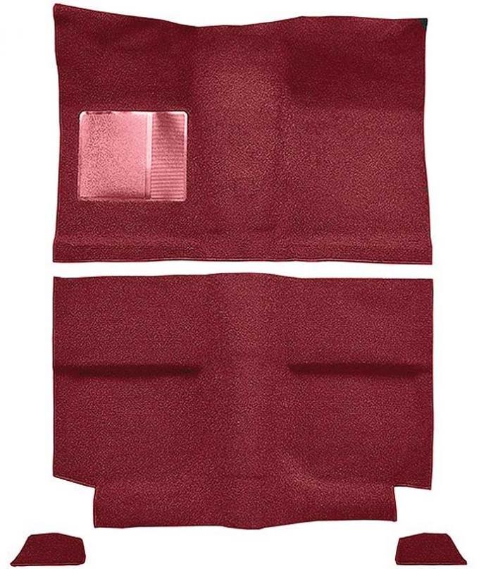 OER 1964 Mustang Fastback w/o Folddowns Nylon Loop Floor Carpet with Mass Backing - Medium Red A4035B92
