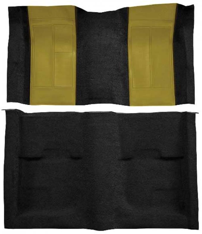 OER 1970 Mustang Mach 1 Nylon Floor Carpet with Mass Backing - Black with Ivy Gold Inserts A4109B09