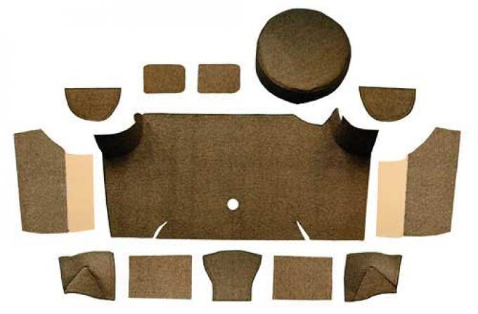 OER 1967-68 Mustang Fastback Loop Trunk Carpet Set with Boards - Dark Saddle A4066A18