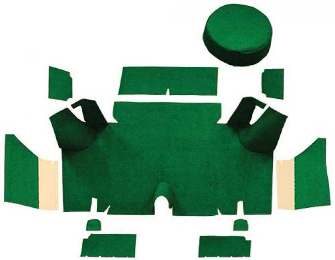 OER 1965-66 Mustang Fastback Nylon Loop Trunk Carpet Set with Boards - Green A4071A39