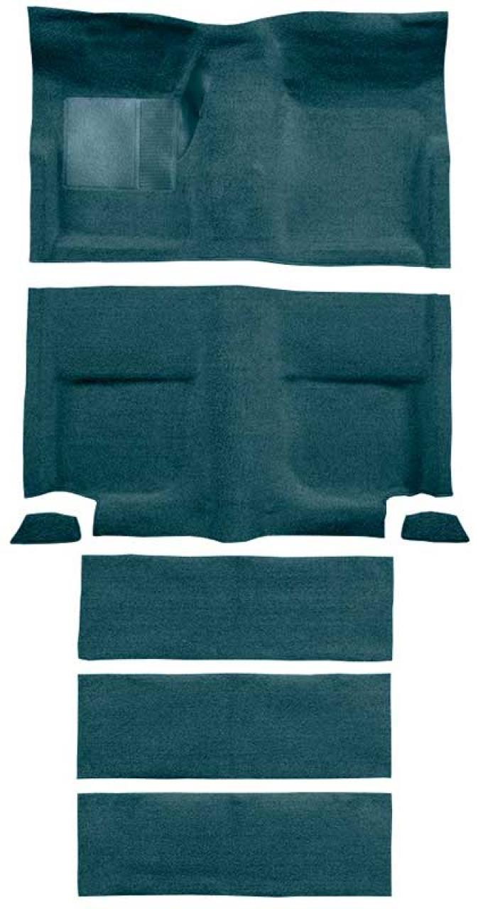 OER 1965-68 Mustang Fastback Passenger Area Loop Carpet with Fold Downs - Aqua A4102A06