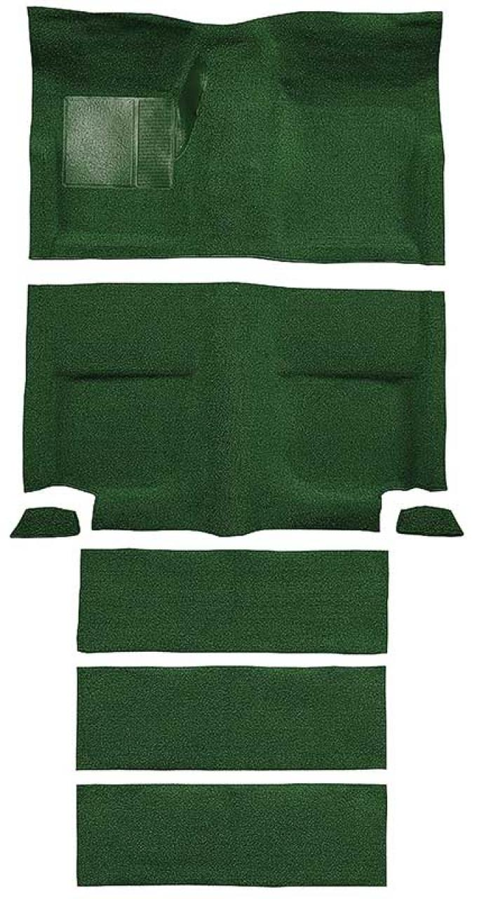 OER 1965-68 Mustang Fastback Nylon Loop Floor Carpet with Fold Downs - Green A4099A39