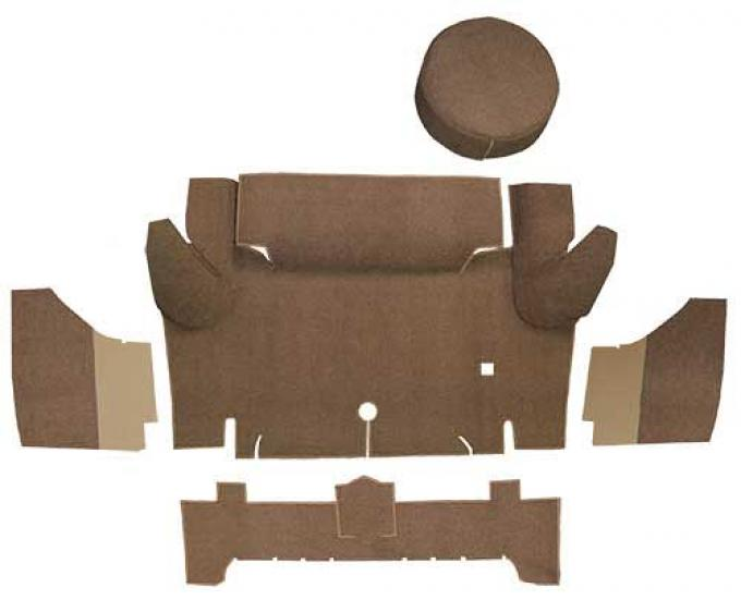 OER 1965-66 Mustang Convertible Loop Trunk Carpet Set with Boards - Medium Saddle A4050A69