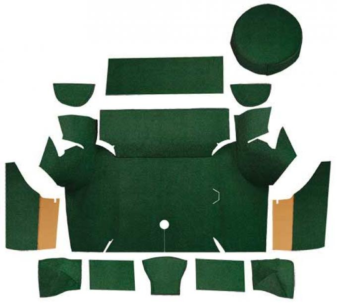 OER 1967-68 Mustang Coupe Loop Trunk Carpet Set with Boards - Dark Green A4058A13