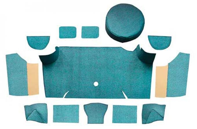 OER 1967-68 Mustang Fastback Loop Trunk Carpet Set with Boards - Aqua A4066A06