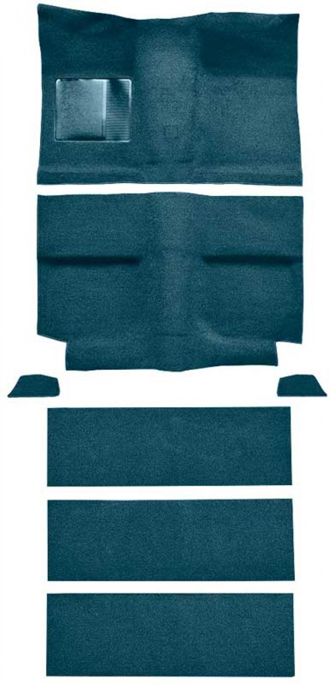 OER 1964 Mustang Fastback with Folddowns Loop Floor Carpet Set with Mass Backing - Aqua A4036B06