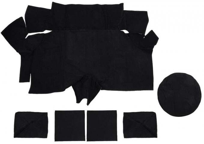 OER 1969-70 Mustang Fastback Nylon Loop Trunk Carpet Set with Boards - Black A4087A01