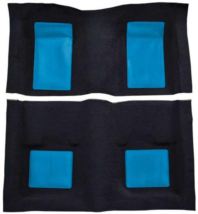 OER 1969 Mustang Mach 1 Passenger Area Nylon Floor Carpet - Black with Medium Blue Inserts A4103A41