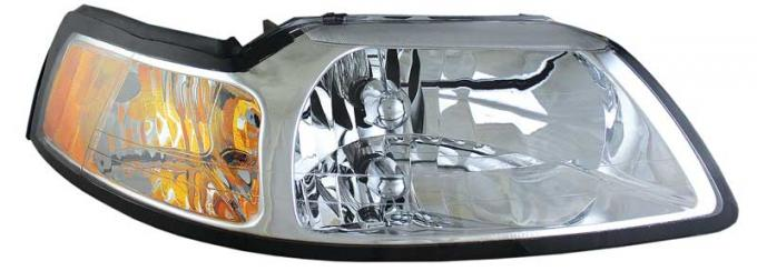 OER 1999-00 Mustang Headlamp Assemblies With Clear Lens, Chrome Housing and Amber Reflector - Pair 94L083