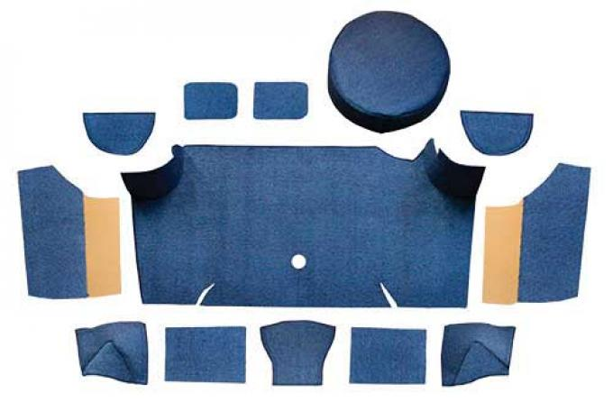 OER 1967-68 Mustang Fastback Nylon Loop Trunk Carpet Set with Boards - Dark Blue A4083A12