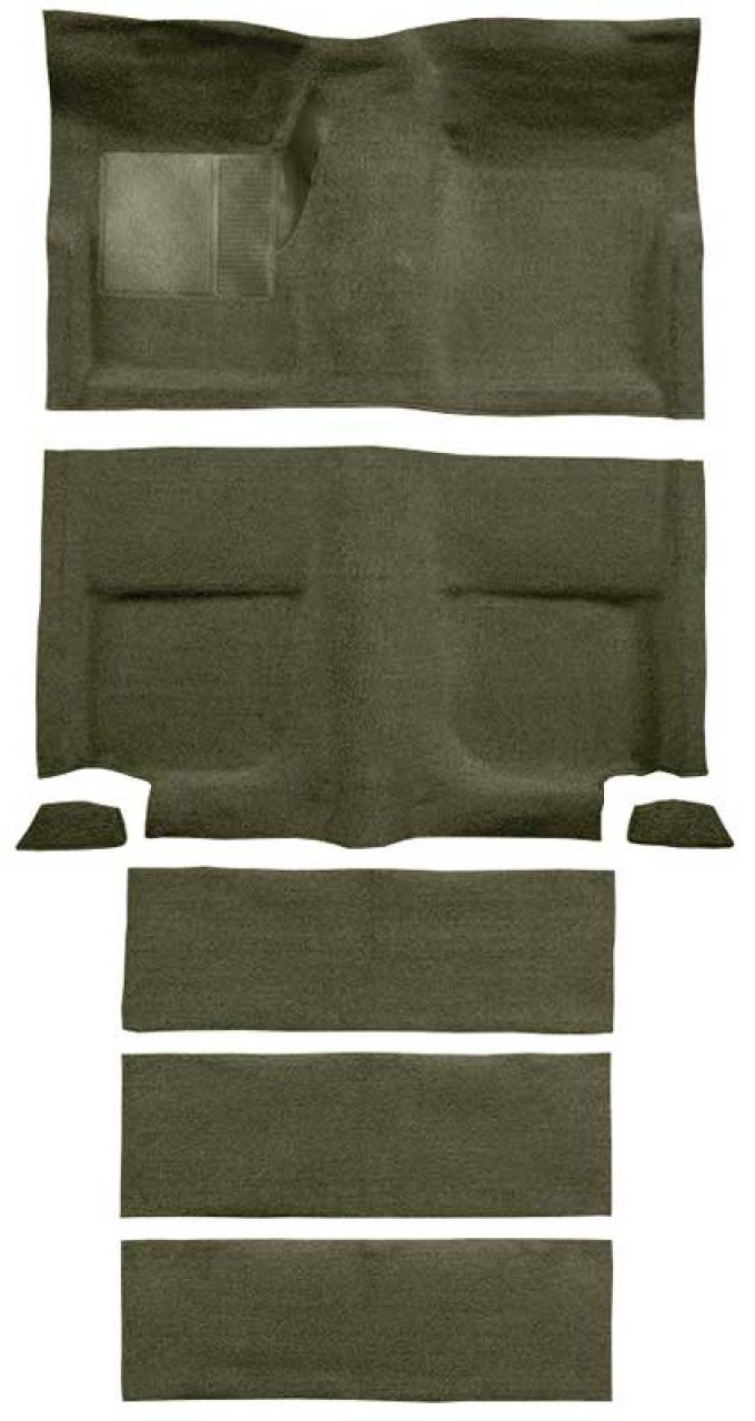 OER 1965-68 Mustang Fastback Loop Carpet with Fold Downs and Mass Backing - Moss Green A4102B19