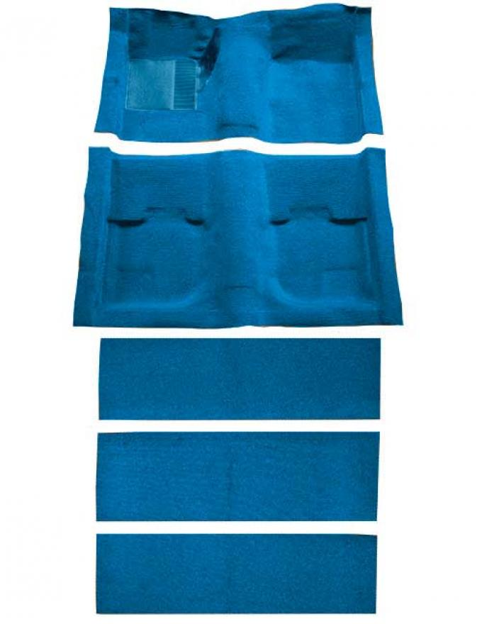 OER 1969-70 Mustang Fastback Passenger Area Nylon Floor Carpet with Fold Downs - Medium Blue A4055A41
