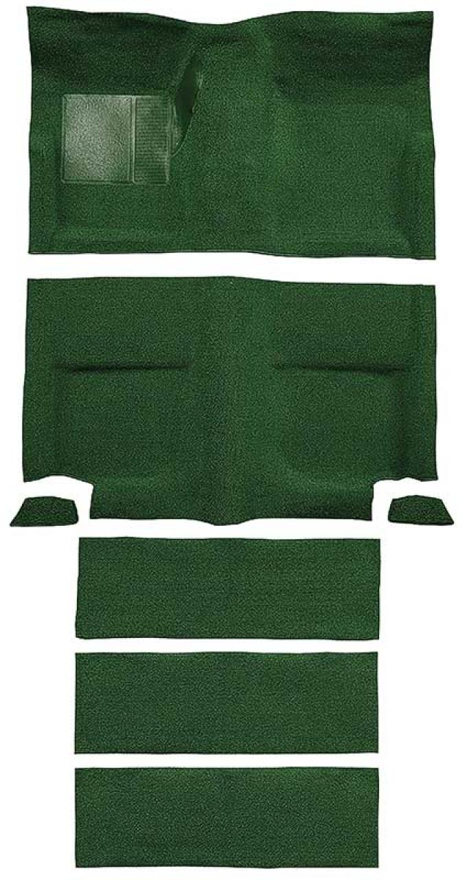 OER 1965-68 Mustang Fastback Nylon Floor Carpet with Fold Downs and Mass Backing - Green A4099B39